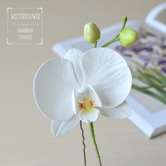 Pièce de mariage cheveux pin blanc orchidée épingle à cheveux mariage fleur blanche pour cheveux fleur tropicale de plage orchidée cheveux pièce
