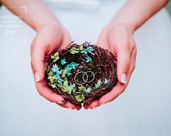 Boho wedding Ring Bearer Bird Nest Spring wedding Bridal accessory Romantic wedding Woodland ring bearer Rustic wedding ring bearer pillow