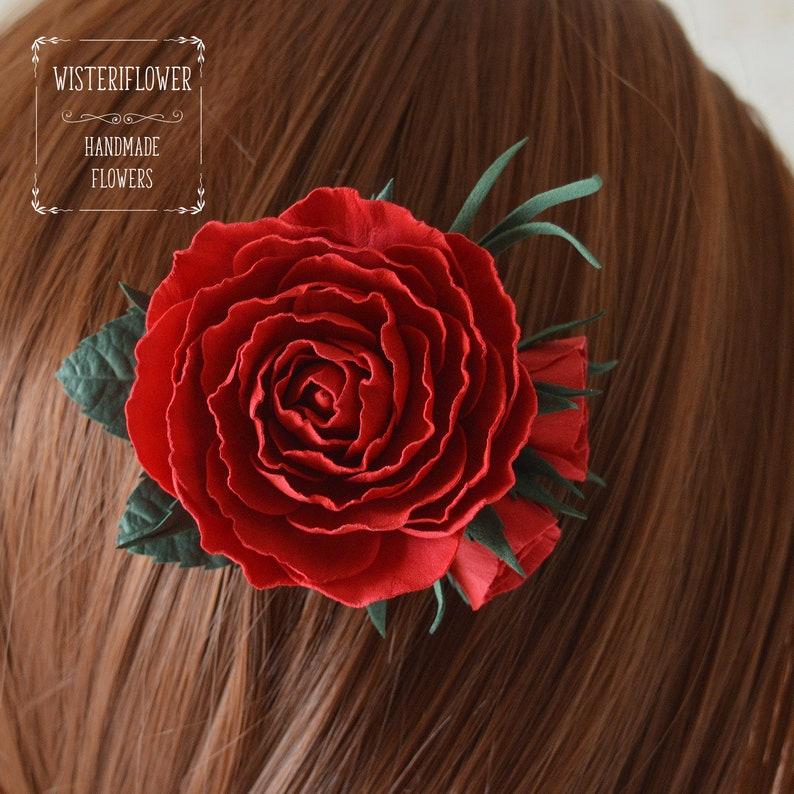 Deep red rose Hair clip Bridesmaid accessories Red hair piece Burgundy hair flower Marsala Wedding hair clip Flower for hair Red wedding