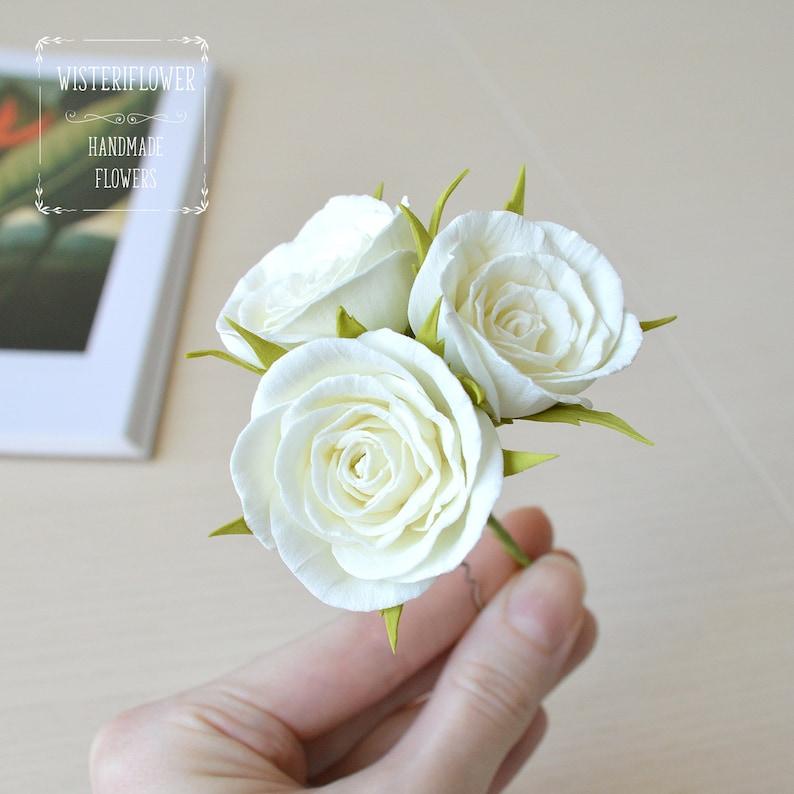 Ivory Rose hair pin Wedding hair pin Flower hairpin Floral image 0