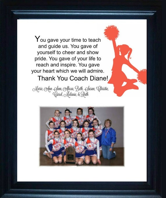 Cheer Coach Gift thank you gift personalized verse picture | Etsy