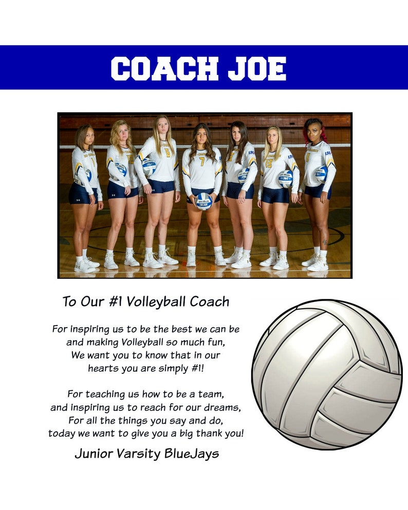 0abc7754a Unframed Volleyball coach thank you gift personalized picture