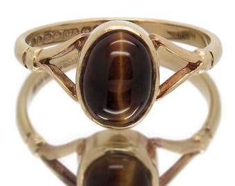 Vintage Tiger's Eye Ring In 9ct Gold   Tigers Eye Is Believed To Be A Protective Talisman   Gift Or Treat For Her   Size UK K / USA 5 1/4