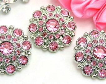 PINK Rhinestone Buttons Large Vintage Style Silver Acrylic Rhinestone  Buttons Wedding Garment Coat Fashion Buttons 28mm 5051 26RR a291f1d7918f