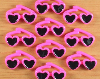 ca9fb8ff55e 10pcs Summer Beach Hot Pink Sunglasses Resin Cabochons Flatback Flat Back  Girl Hair Bow Center Frame Phone Deco Crafts DIY