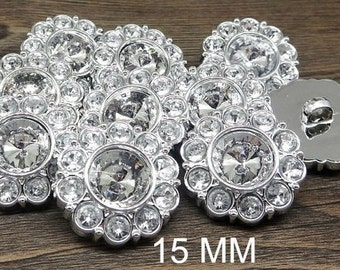 CRYSTAL CLEAR Rhinestone Buttons Round Buttons Garment Buttons DIY  Embellishments Bridal Buttons Sewing Buttons 15mm 2997 2R c42764b25543