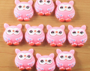 Wholesale 10 Pink OWL Resin Cabochon Flatbacks Flat Back Scrapbooking Girl Hair Bow Center Crafts Making DIY