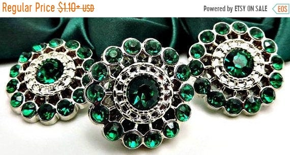 Emerald Fashion Rhinestone Buttons Green Vintage Price for 10