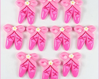 10pcs Pink Ballet Slipper Shoes Resin Cabochons Flatbacks Flat Back Girl Hair Bow Center Crafts Deco Embellishment DIY.