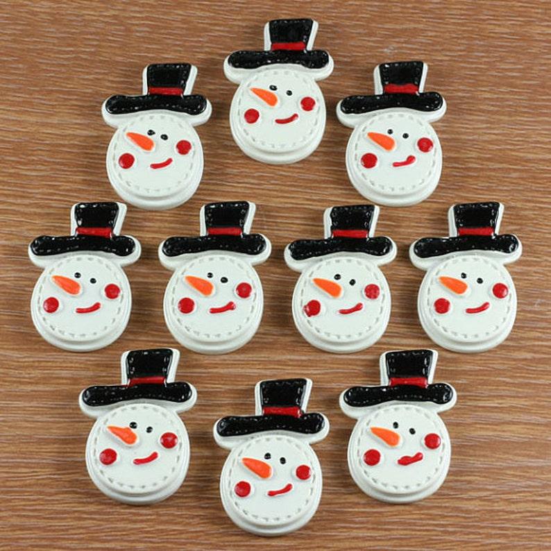 2c21cced238 Bulk 10pcs Snowman With Black Hat Christmas Resin Cabochon