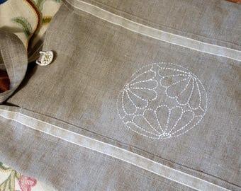 """Bag """"tote"""" inspired sashiko embroidery linen"""