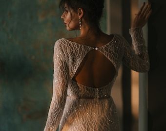 Wedding dress 'LEONI' // Luxury mermaid bridal gown, elegant and sexy wedding dress, beaded, glittering, shiny, sparkling wedding dress