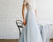 Viki / Light blue wedding dress with lace trimmed back and short sleeves / Boneless