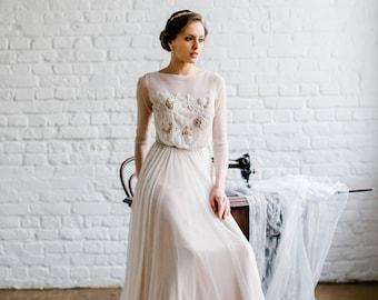 Long Sleeve Wedding Dress TERRI Modest Open Back Cream Light Beige Romantic Alexveilbridal