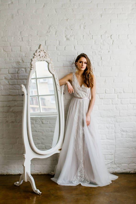Wedding dress \'DOMINIK\' / Exquisite glittering pale | Etsy