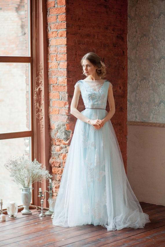 Tiffany blau Hochzeitskleid \'GLENNY\' / Licht