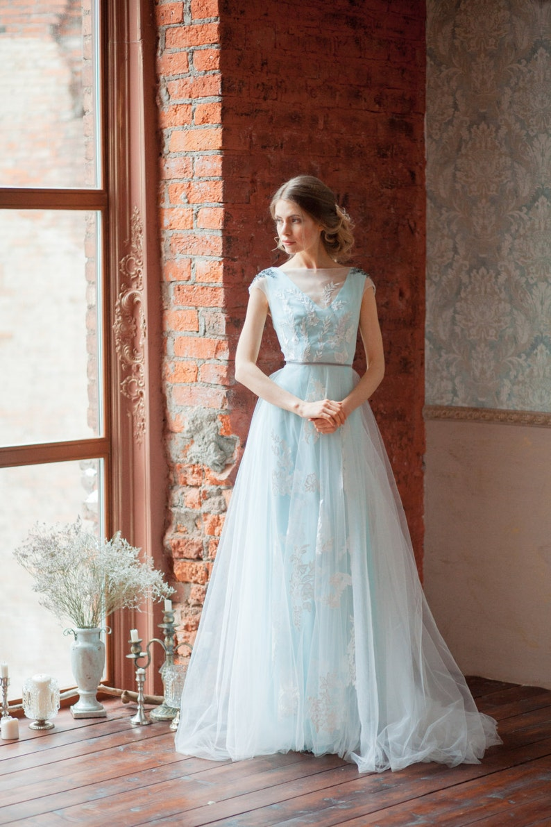 af72d5e9140 Tiffany blue wedding dress  GLENNY    Light wedding