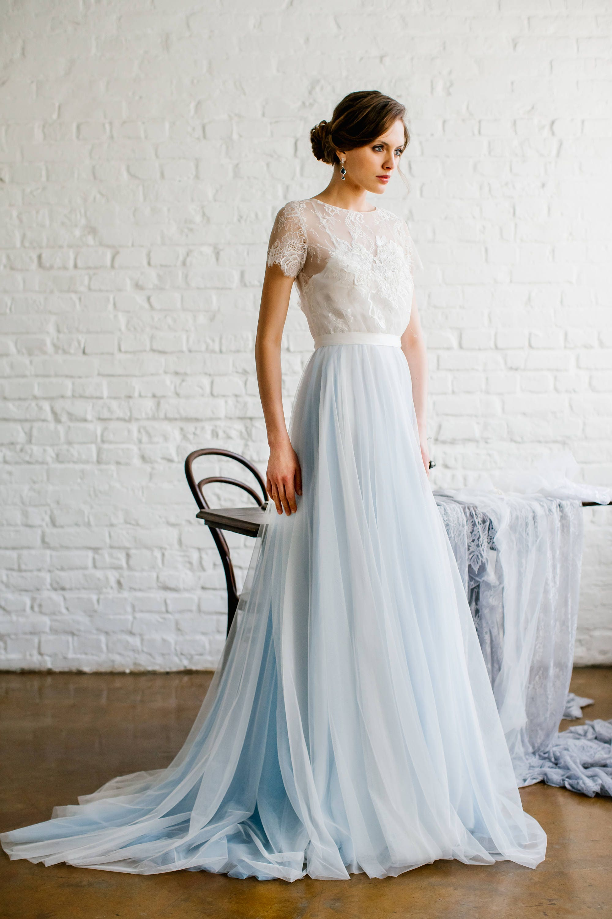 3257ae3dd05 Viki   Light blue wedding dress with lace trimmed back and