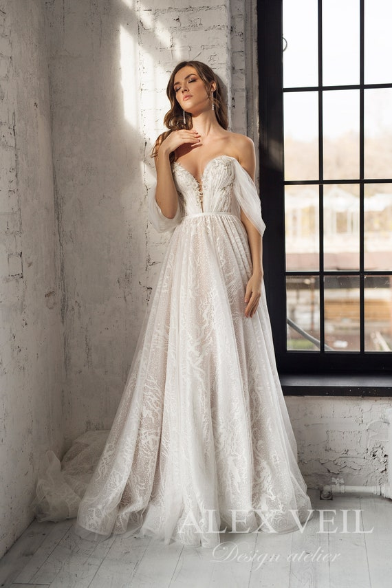 KASSANDRA Gorgeous Wedding Dress with Open Shoulders and back, Off Shoulder Sleeves by Alex Veil Bridal, Etsy