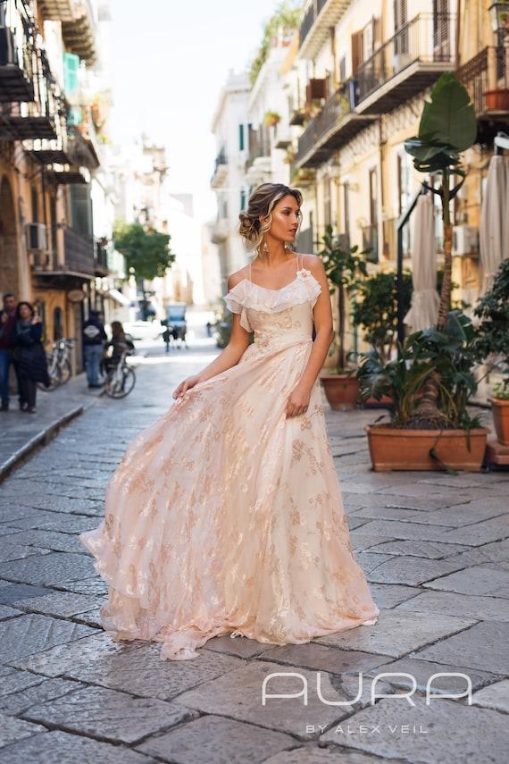 54bffb9a1fab Wedding dress 'ASTRA' / Blush wedding gown with very | Etsy