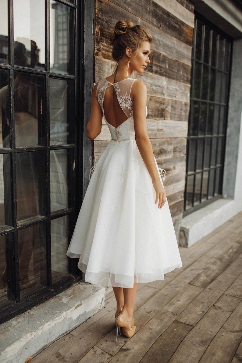 Tea Length Wedding Dresses.Wedding Dress Stefani Short Wedding Dress Tea Length Wedding Dress Lace Wedding Gown Three Quarter Wedding Dress
