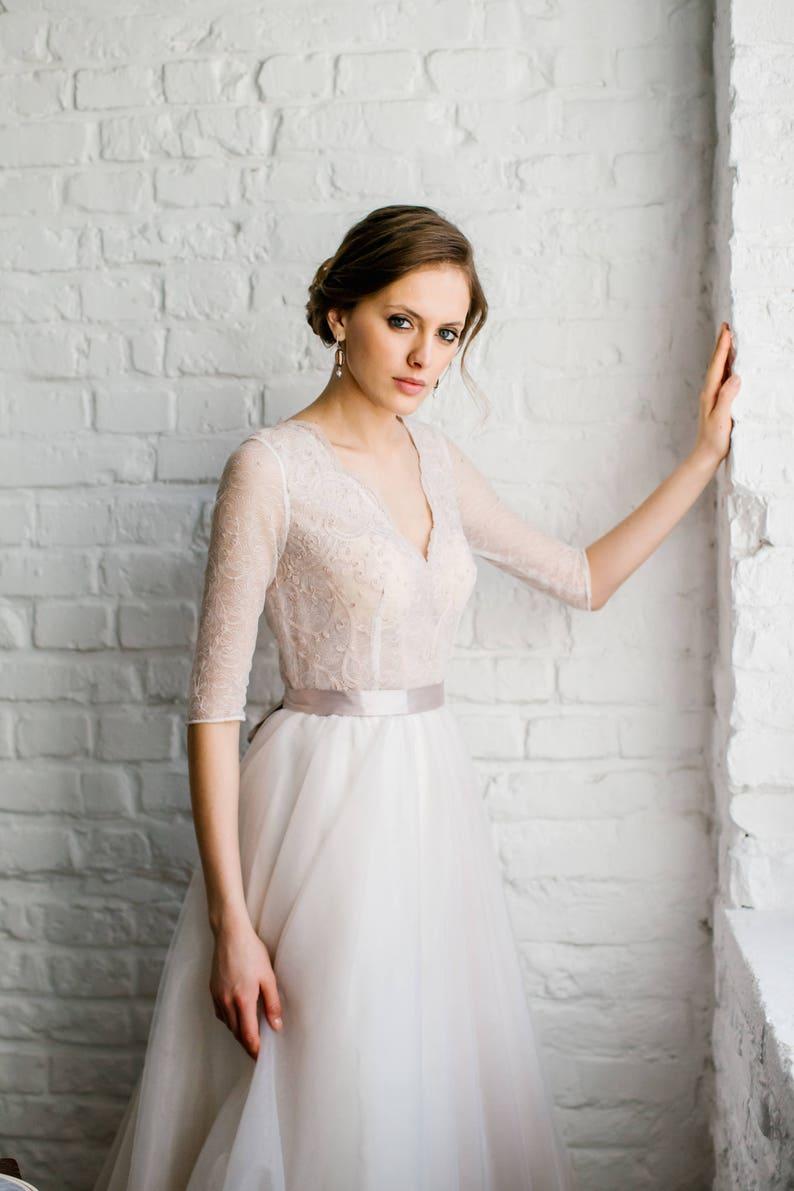 eb42df447f9 Stella   Vintage natural French lace wedding dress with closed