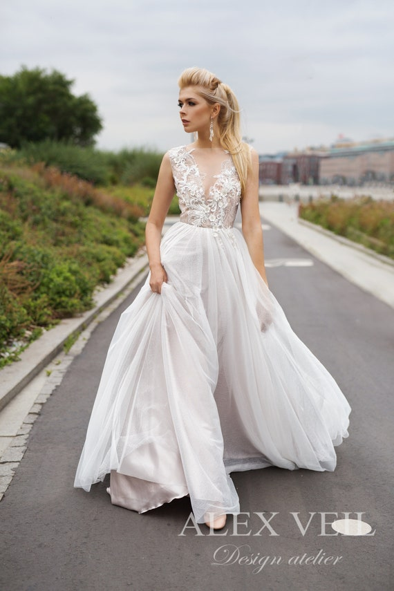 Wedding Dress Rianna Luxurious A Line Wedding Dress With Plunge Neckline And Open V Shaped Back