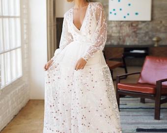Wedding dress 'NATHALIE' // Unique rustic wedding dress, boho wedding dress, special bridal gown