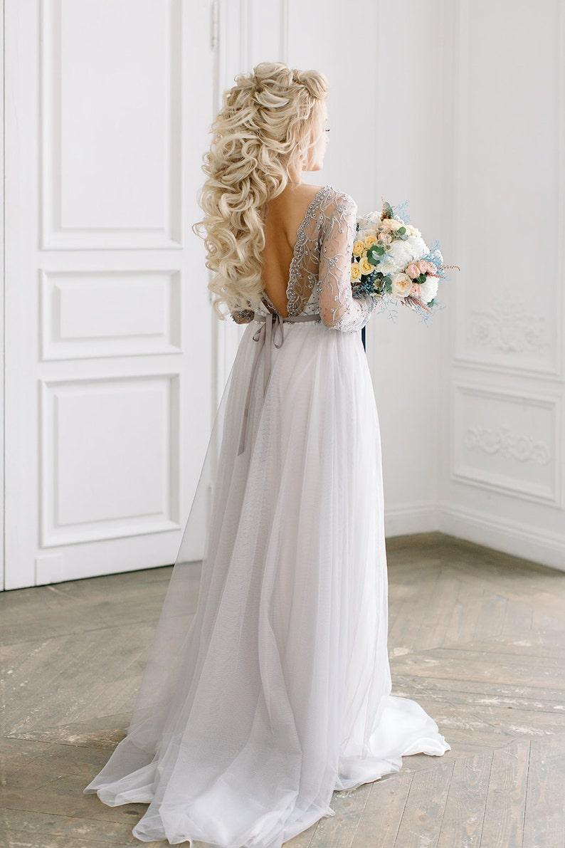 Long Sleeve Wedding Dresses with Grey