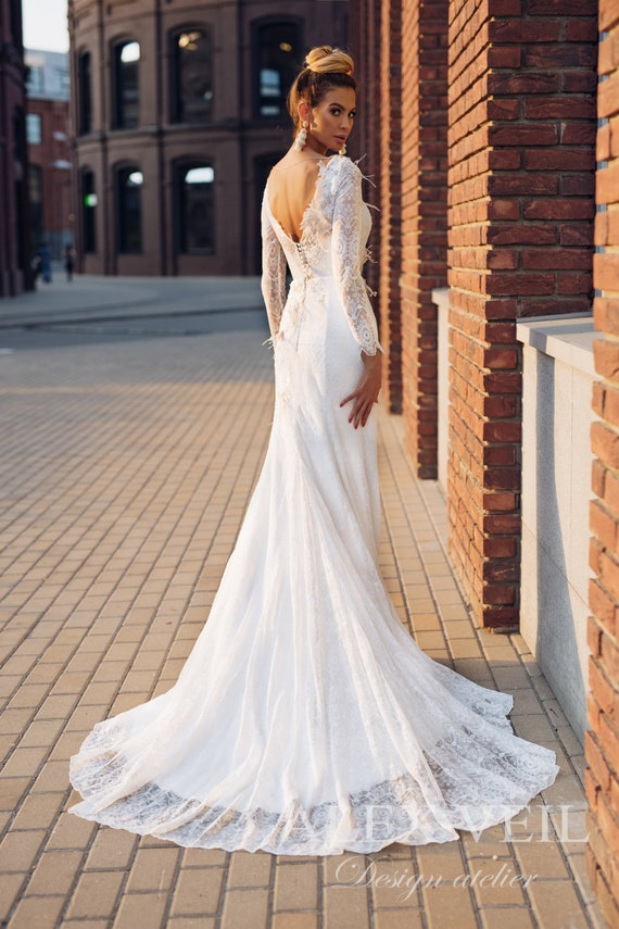 Wedding Dress Justine Beautiful Mermaid Wedding Etsy