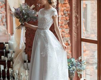 Wedding dress LORA / A-line wedding dress, boned, open back wedding dress, covered shoulders, short train weding dress