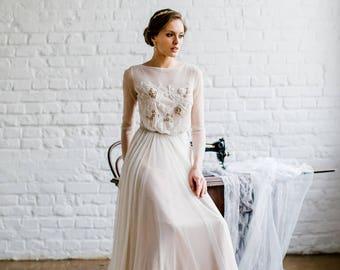 Long sleeve wedding dress 'TERRI' / Modest wedding dress, open back wedding dress, cream wedding dress, light beige wedding dress, romantic
