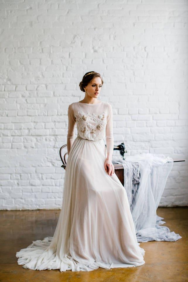 Long sleeve wedding dress \'TERRI\' / Modest wedding | Etsy