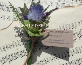 Thistle and heather buttonhole corsage with brooch pin fastening for weddings or Scottish themed events single blue suits men or women
