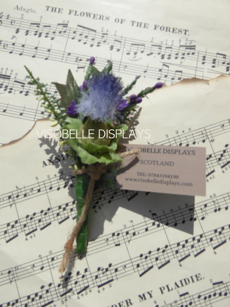 Thistle and heather buttonhole corsage with brooch pin image 0