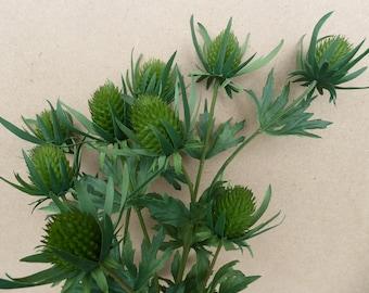 Artificial thistle teasel flower green