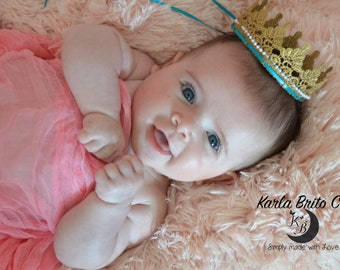 Baby Lace Gold Crown teal ribbon and pearls