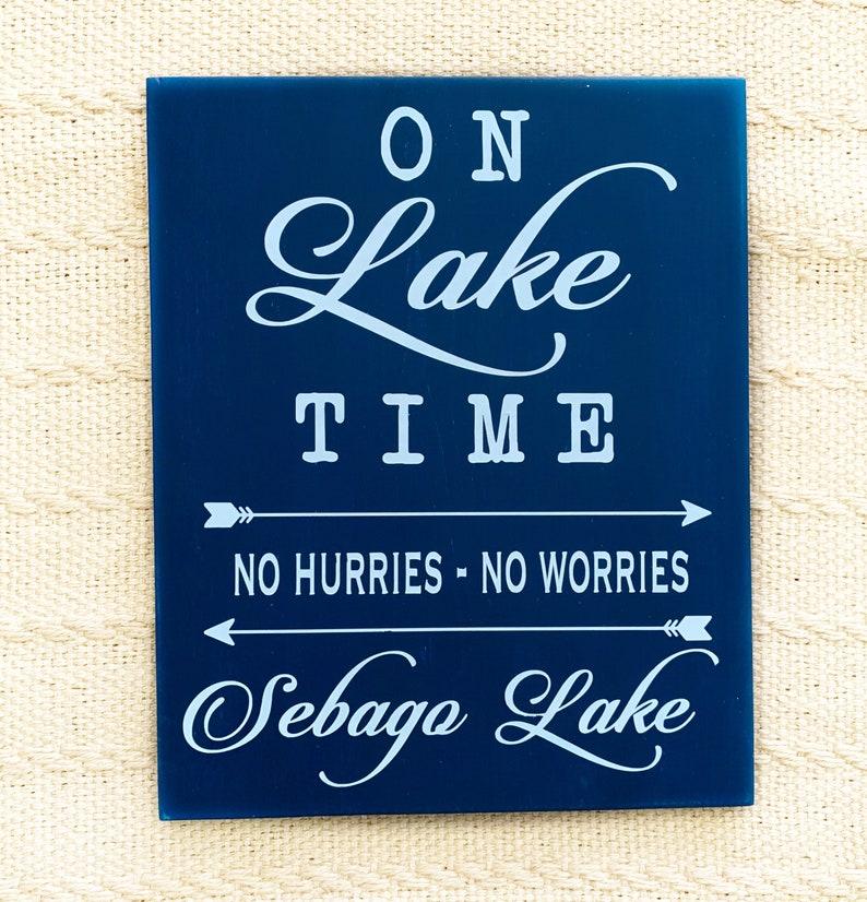 lake Signs Lake Decor SEBAGO LAKE  \u2018on lake time\u2019 Handpainted sign Lake House Sebago Lake sign
