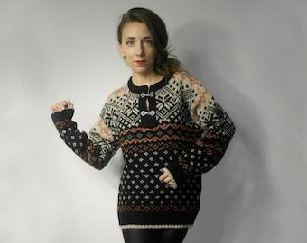 Norwool Knitted Women Sweater Scandinavian Ornament Vintage Norwegian