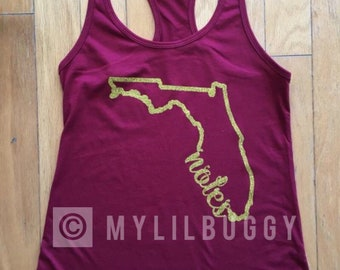 a2757acbe287d Women s FSU racerback tank. Tank Top. FSU. Seminoles. Noles. Garnet. Gold.  Metallic. Glitter. Mulitple sizes. Multiple colors for design.