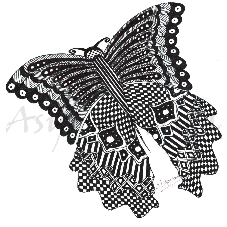 Asymmetrica Titli la mariposa animales mimosos Zentangle   Etsy