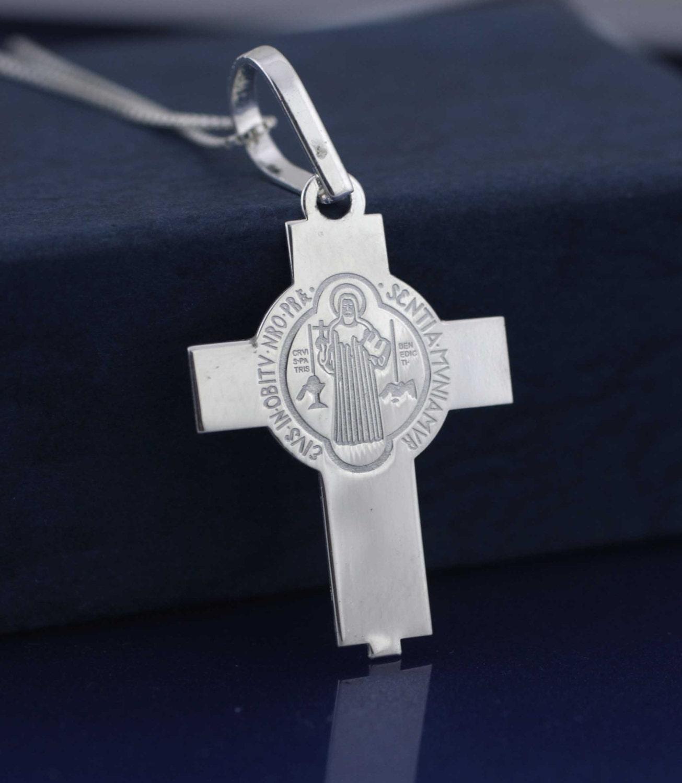 Jewelry & Watches Argento Sterling Doppio Lato San Benito Pendente A Croce Precious Metal Without Stones