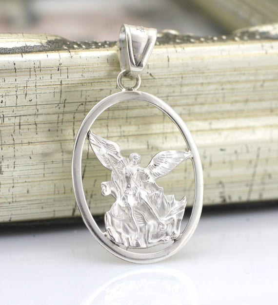 29115841598 Saint Michael Archangel Necklace Sterling Silver St. Michael | Etsy