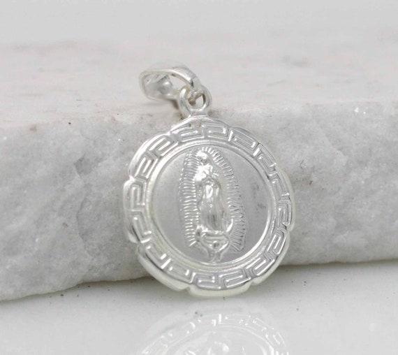 Sterling Silver Saint St Jude Thaddeus médaille ronde Charme Collier Pendentif