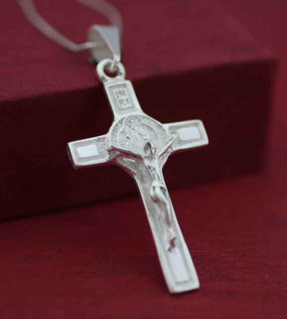 Argent Sterling 925 homme femme Saint Benoît San Benito croix crucifix pendentif