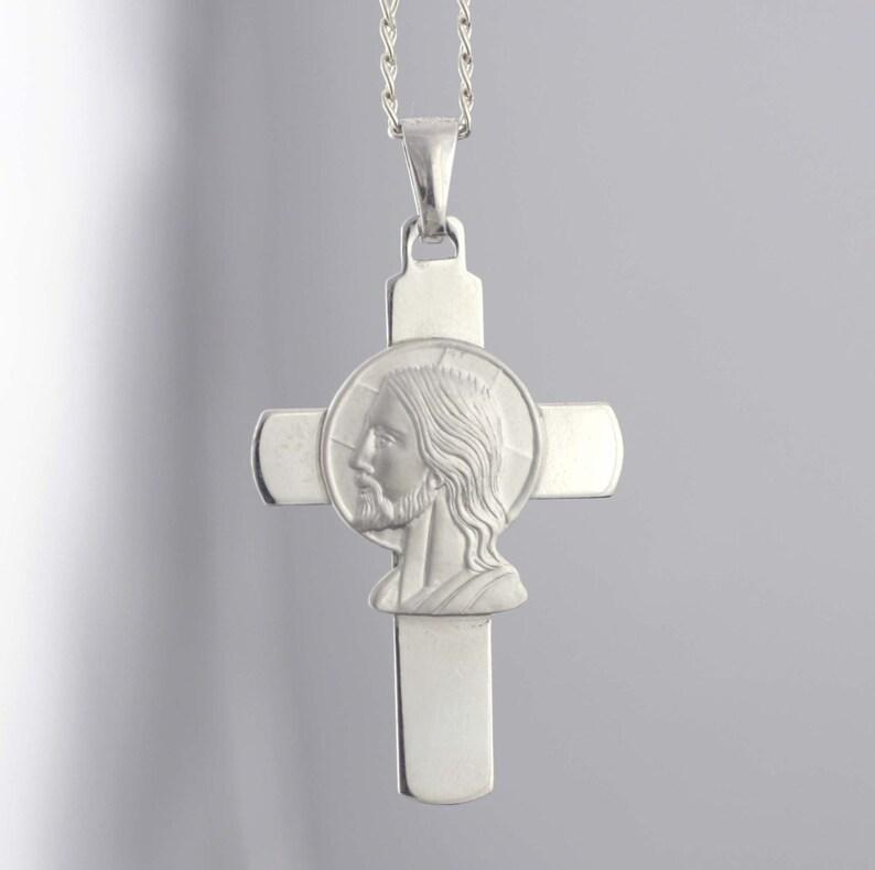 fd2af76763ce Mens Cruz collar collar de plata esterlina Cruz Cruz de