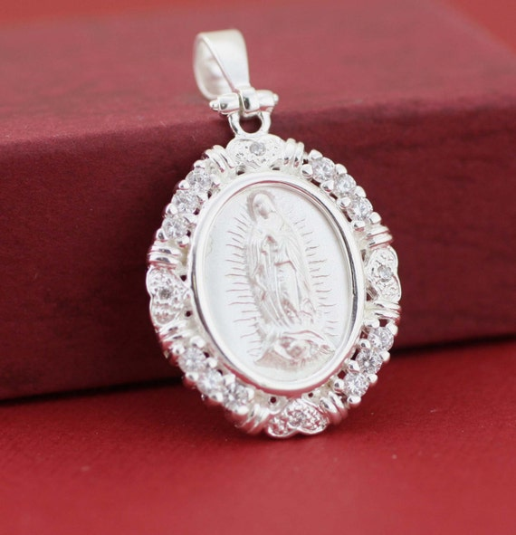 Guadalupana Sterling Silver Our Lady of Guadalupe Medal with Cz Virgin Mary Medal Virgen de Guadalupe Necklace Silver Guadalupe Medal