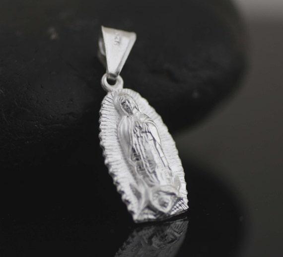 Sterling Silver Virgin Mary Virgen Maria De Guadalupe CZ Stones Pendant Necklace