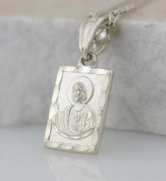 Medalla De San Judas Collar De Plata Esterlina St Jude Small Etsy