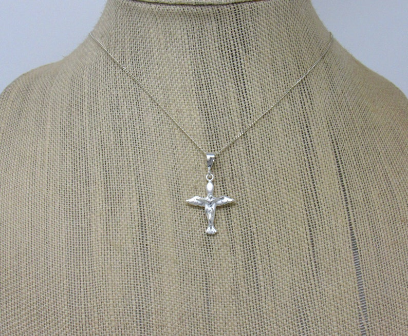 Holy Spirit Cross Necklace Sterling Silver Cross Necklace Catholic Cross Necklace Dove Crucifix Pendant First Communion